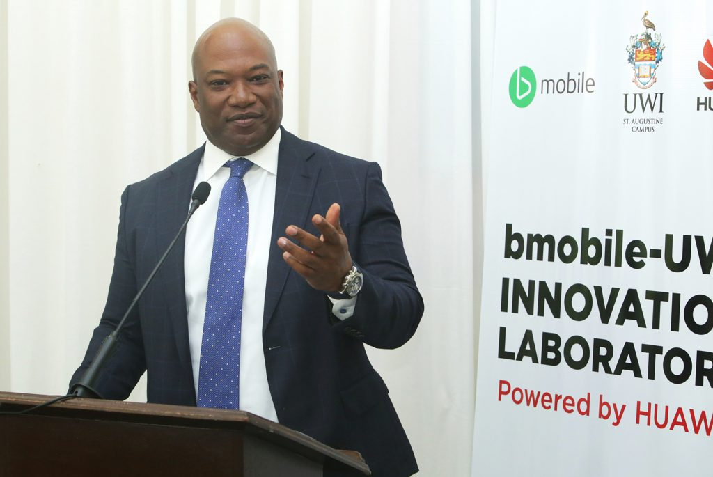 TSTT's CEO, Dr. Ronald Walcott, delivers remarks at the launch of the bmobile UWI Innovation Lab powered by Huawei